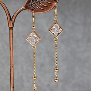 💖18k Diamond Tassel Drop Earrings